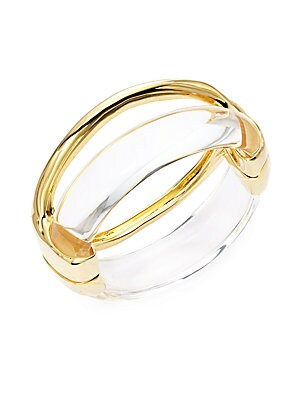 Lucite & 10K Yellow Gold Liquid Stacked Hinged Bracelet