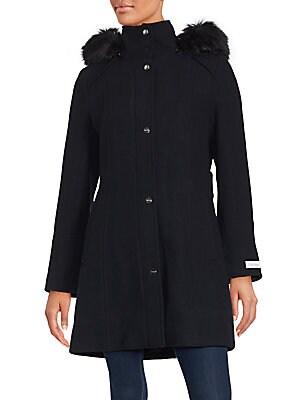 Solid Faux Fur-Trimmed Coat