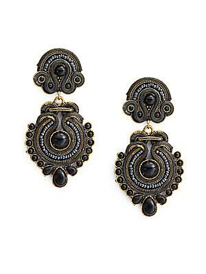 Woven Beaded Drop Earrings