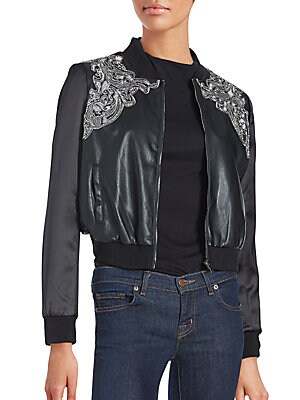 Brocade Faux Leather Bomber Jacket