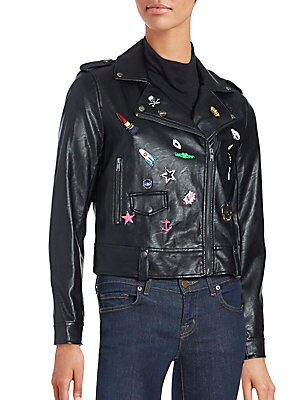Pinned Faux Leather Moto Jacket