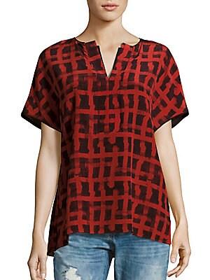 Mod Grid Short Sleeve Silk Top