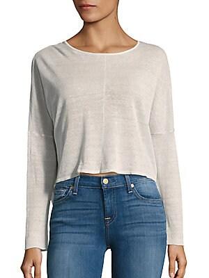 Drop-Shoulder Linen-Blend Cropped Top