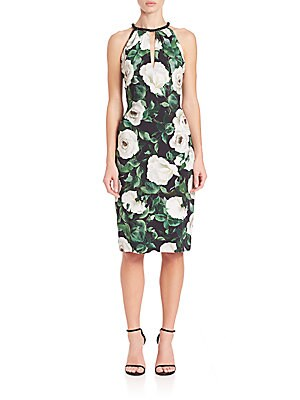Beaded-Neckline Floral Silk Dress