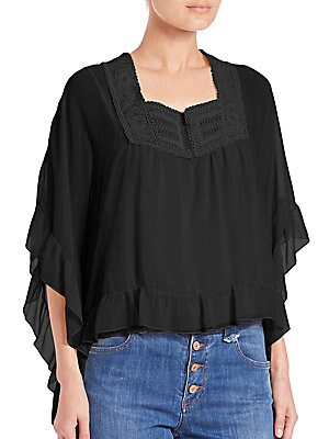 Ruffle-Sleeve Embroidered Silk Top