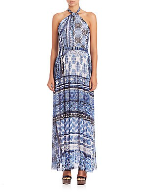 Bandana-Print Halter Maxi Dress