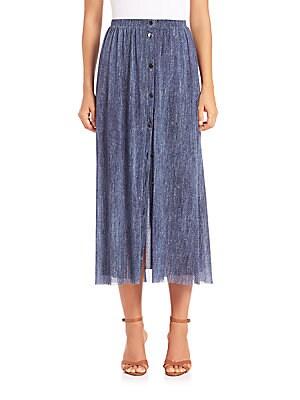 Denim-Print Maxi Skirt