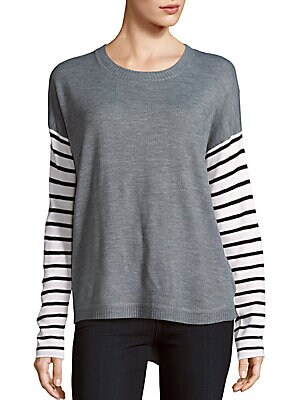 Roundneck Striped Sleeve Sweater