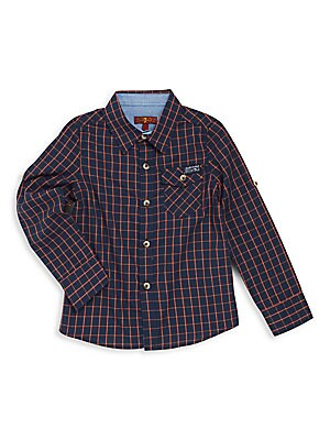 Boy's Checked Button-Front Shirt