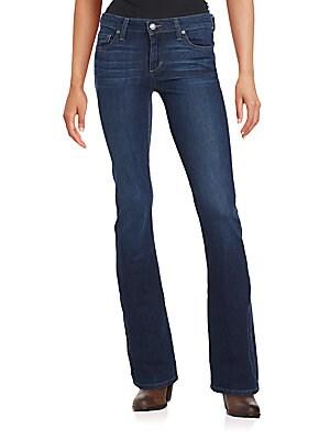 Whiskered Five-Pocket Jeans