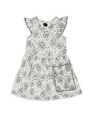Little Girl's Floral Print Flared Dress