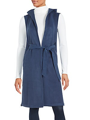 Solid Sleeveless Long Jacket