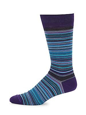 Striped Merino Wool-Blend Mid-Calf Socks