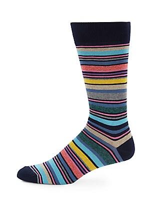 Jaspe Large Striped Cotton-Blend Socks