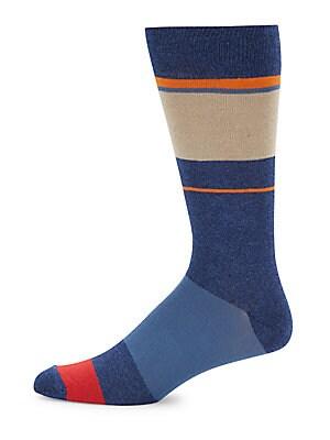 Colorblock Cotton-Blend Mid-Calf Socks