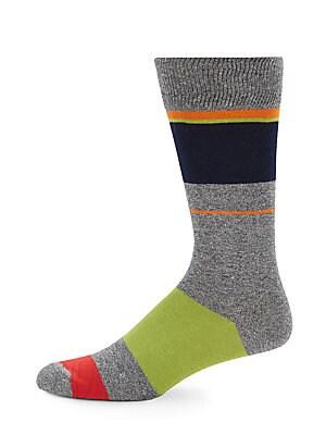 Jasper Solid Striped Crew Socks