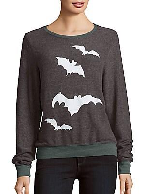 Bat Print Long Sleeve Pullover