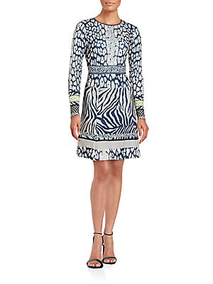 Animalia Printed Long Sleeve Dress