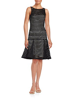 Beaded Striped Dress