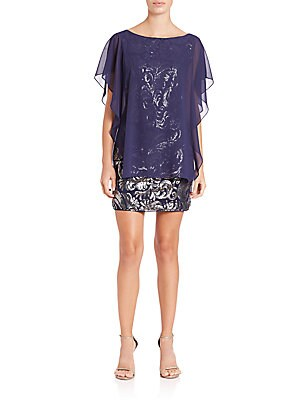 Sequined Chiffon-Overlay Dress