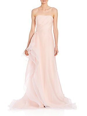 Ruffled Silk Organza Strapless Gown