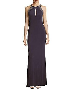 Jewelneck Sleeveless Embellished Gown