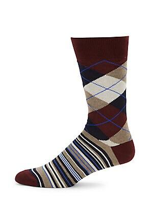 Harlequin Checks Cotton-Blend Mid-Calf Socks