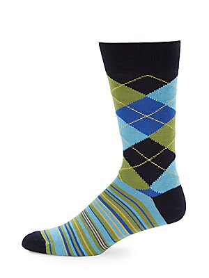 Checkered Cotton-Blend Socks