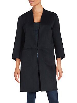 Long Sleeve Wool-Blend Coat