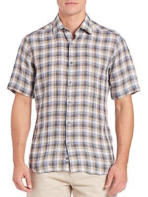 Windowpane Short-Sleeve Sportshirt