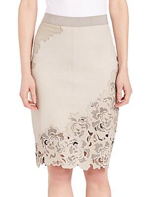 Bryana Lasercut Leather Skirt