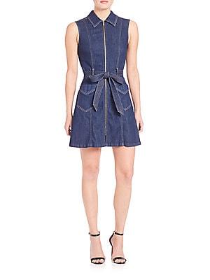 Saint Tropez Belted Zip-Front Denim Dress
