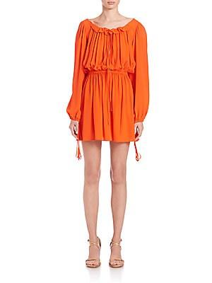 Silk Georgette Blouson Dress