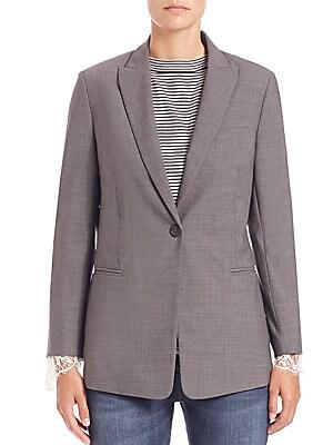 Lace-Detail Wool Blazer