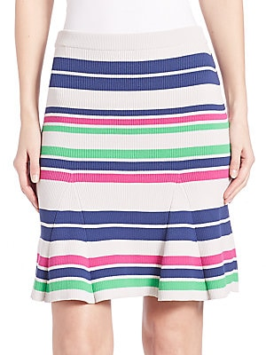 Sasha Striped Rib-Knit Skirt