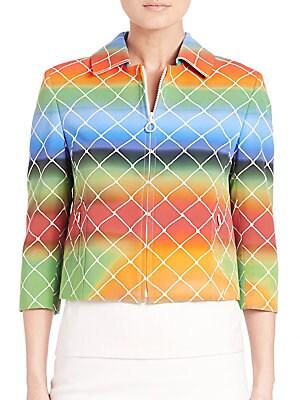Cropped Net-Print Jacket