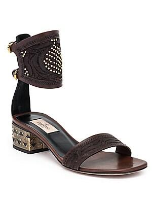 Studded Metal-Heel Sandals
