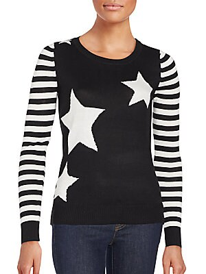 Striped Sleeve Star Sweater