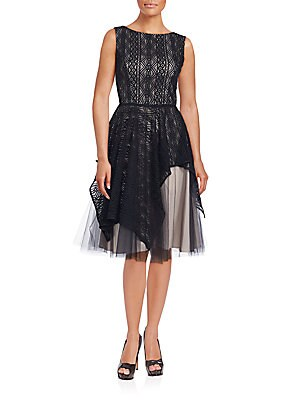 Lace Overlay Fit-and-Flare Dress