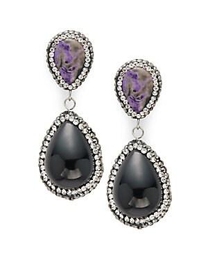 Crystal Studded Drop Earrings