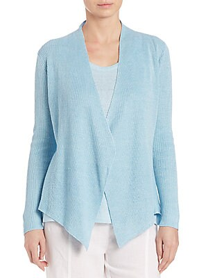 Linen Angled-Front Cardigan