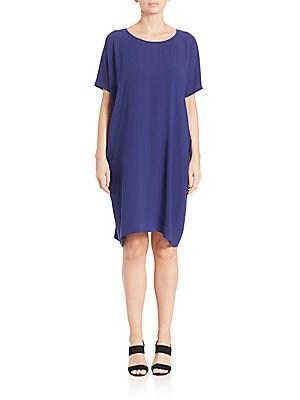 Short-Sleeve Silk Dress