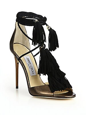 Mindy Metallic Leather & Suede Lace-Up Tassel Sandals