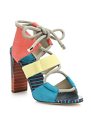 Henni Printed Suede Lace-Up Sandals