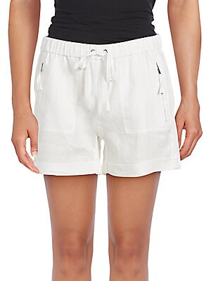 Saks Fifth Avenue Drawstring Cuffed Linen Shorts | Clothing