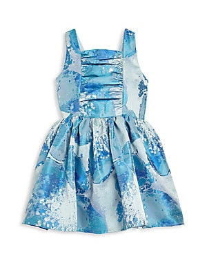 Toddler's & Little Girl's Blue Floral V-Back Dress