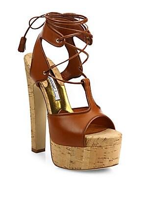 Brittany Leather Lace-Up Cork Platform Sandals