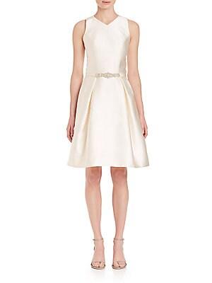 Bead-Embellished Belted Dress