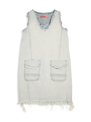 Girl's Frayed Denim Dress
