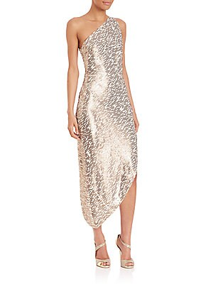 One-Shoulder Asymmetrical Sequin Dress